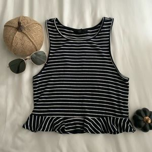 FOREVER21 Striped Ruffle Hem Cropped Tank